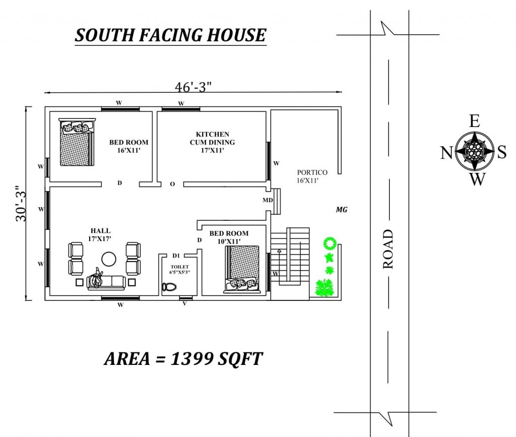 46'x30' 2BHK South facing house plan