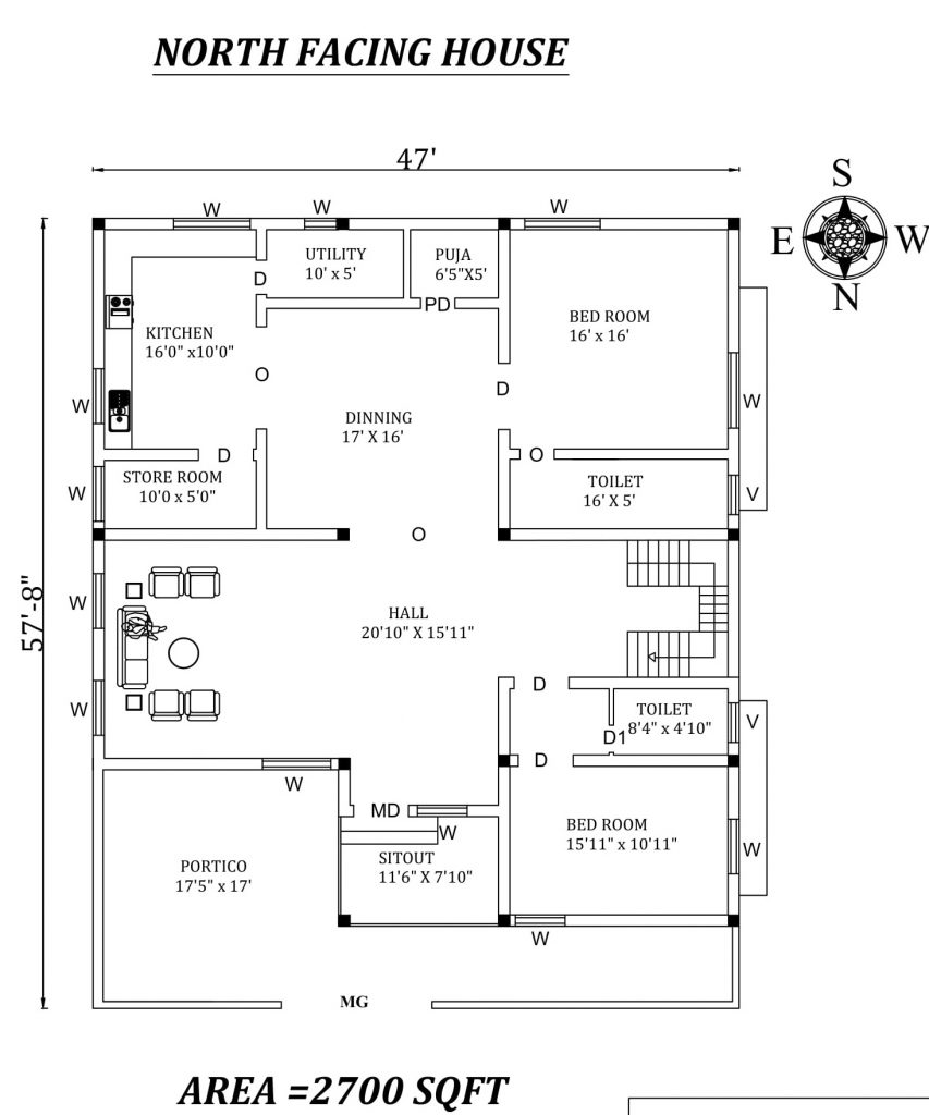 "47'x57'8"" Amazing North facing 2bhk house plan"