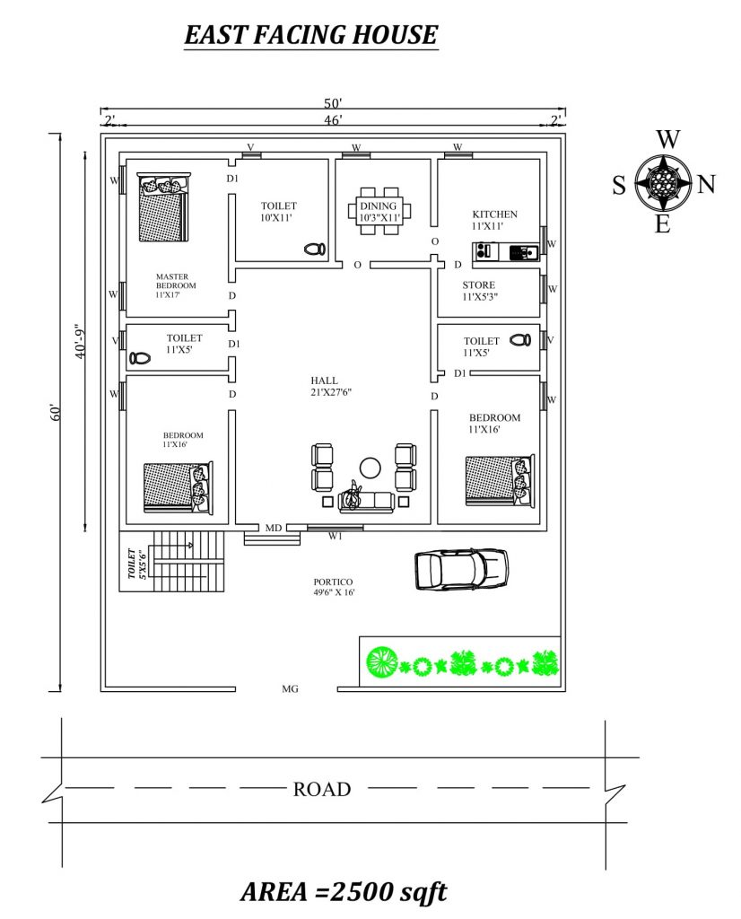 50'X60' Fully furnished East Facing 3BHk House Plan