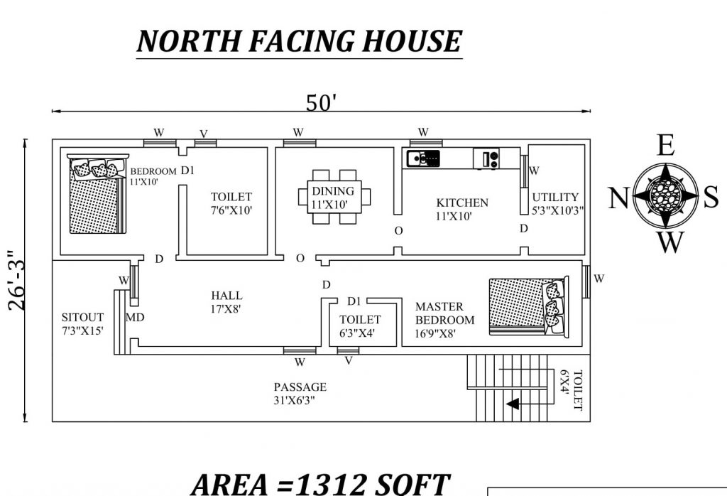 "50'x26'3"" 2bhk North-facing House Plan"