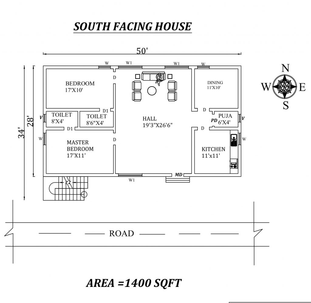 50'x34' 2BHK South Facing House Plan
