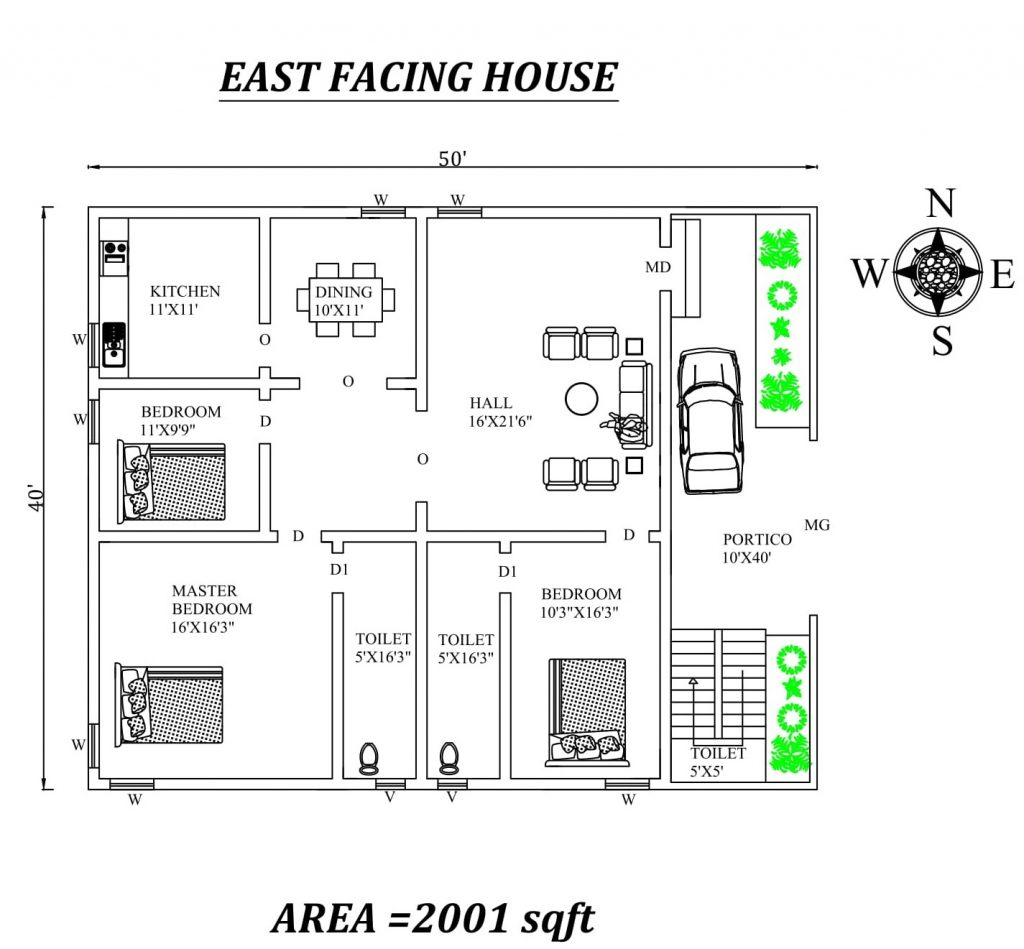 50'x40' 3BHK East Facing Home Plan