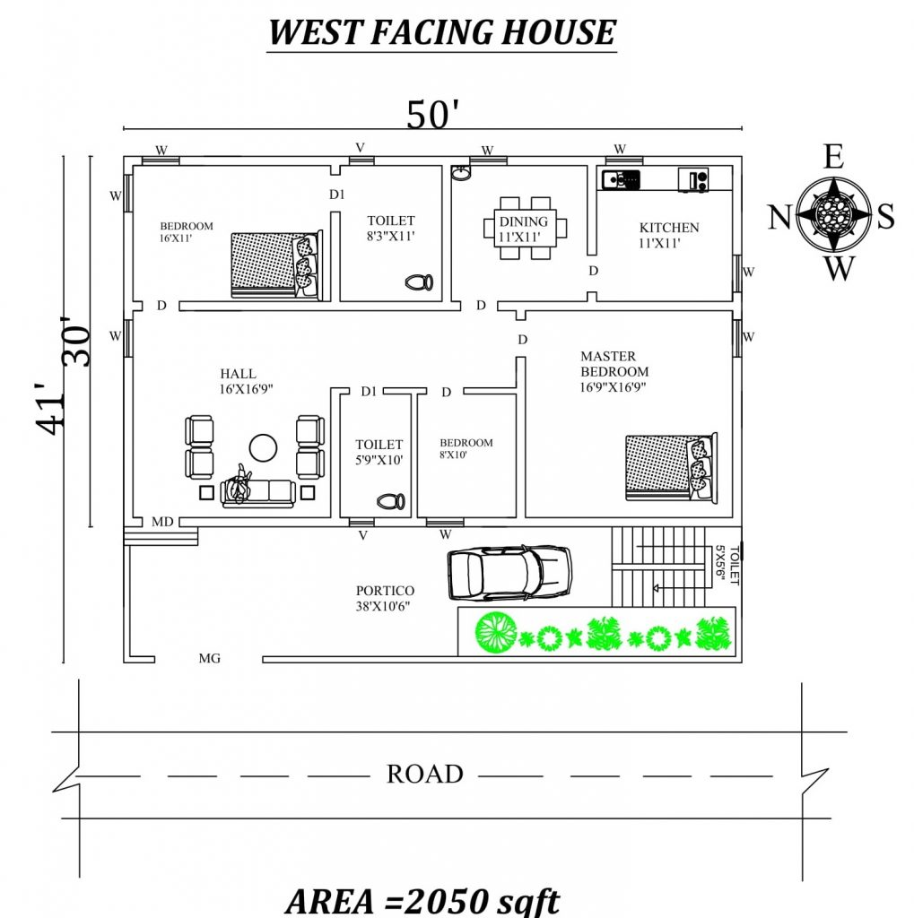 50'x41' Superb 3BHk West facing house plan