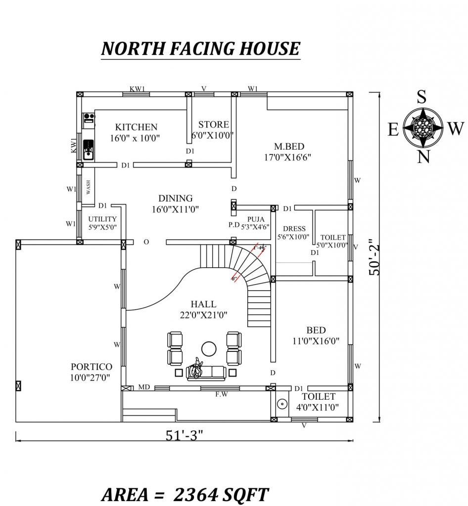 51'X50' Amazing North facing 2bhk house plan