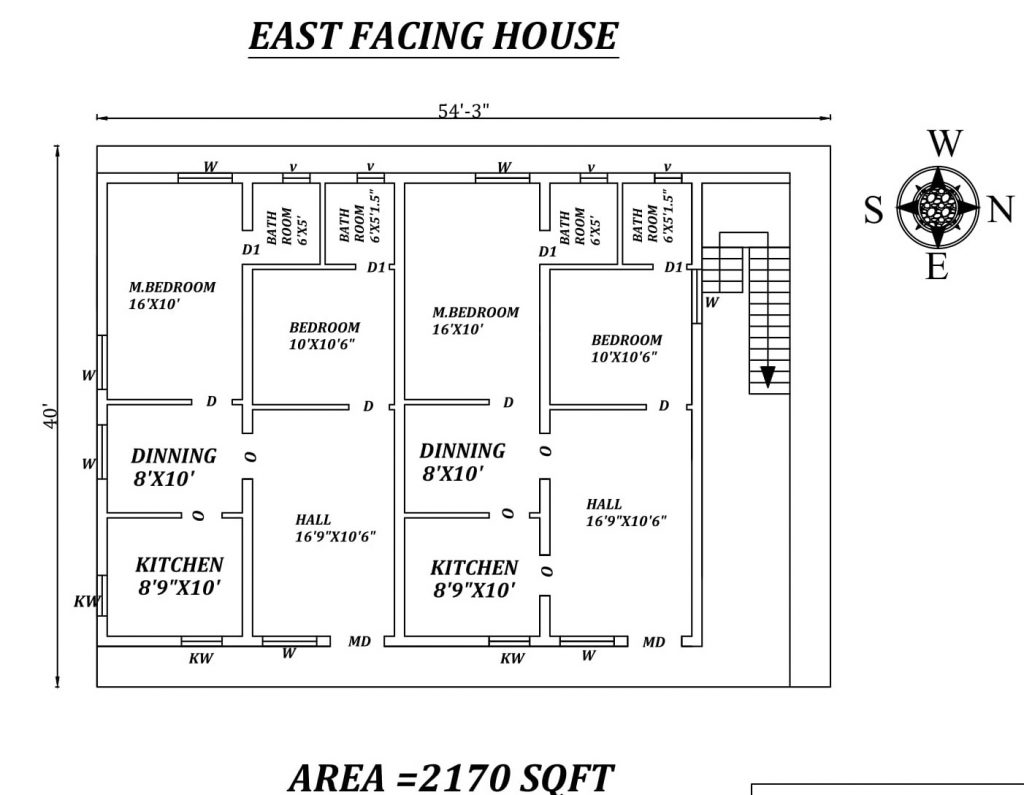 54'X40' The Perfect 2bhk Dual East facing House Plan