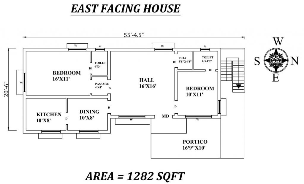 "55'5""x20'6"" The Perfect 2bhk East facing House Plan"