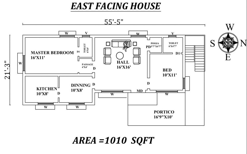 "55'5""x21' The Perfect 2bhk East facing House Plan"