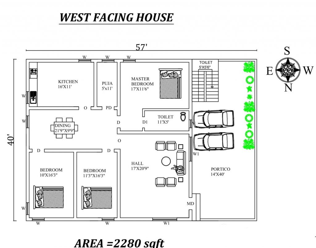 57'x40' Marvelous 3bhk West facing House Plan