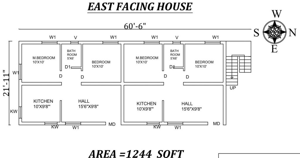 "60'6"" X 21'11"" 2 BHK east-facing twin House Plan"