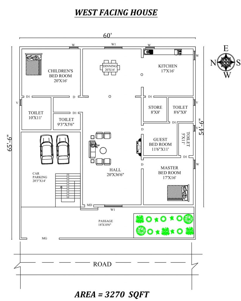 "60'X 65'6"" Beautiful 3bhk West facing House Plan"