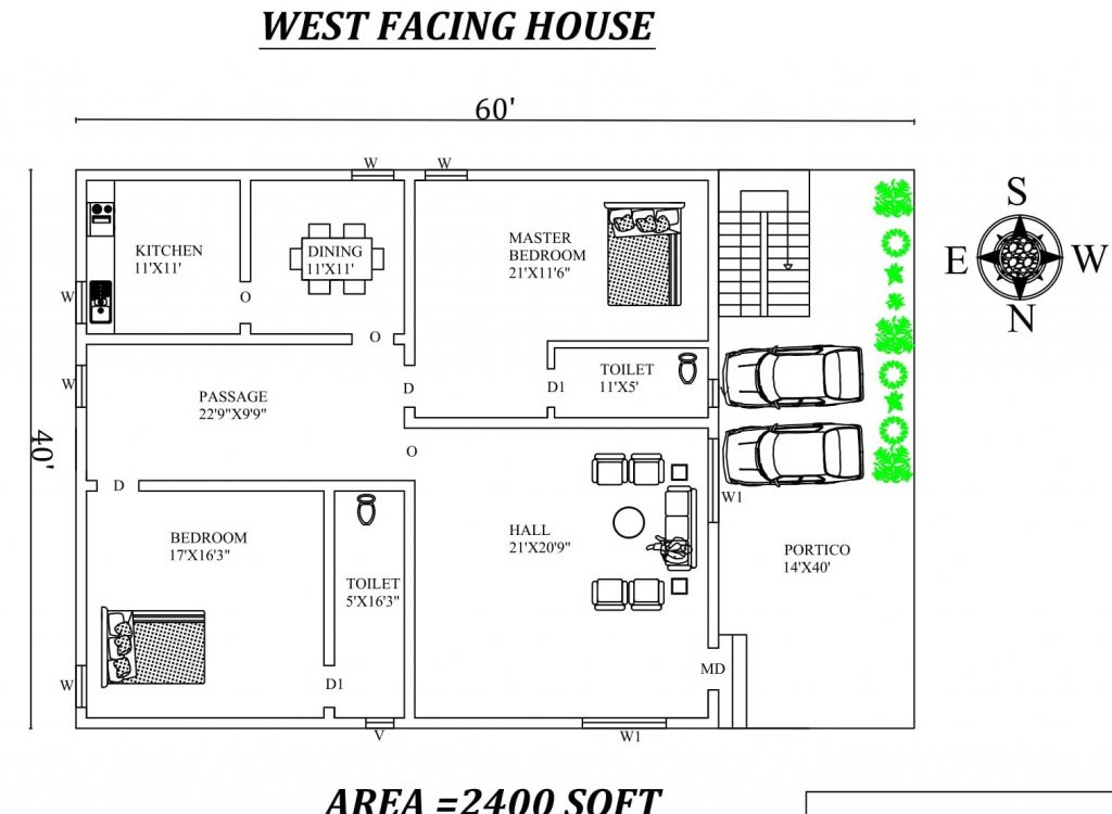 60'x40' Marvelous 2bhk West facing House Plan