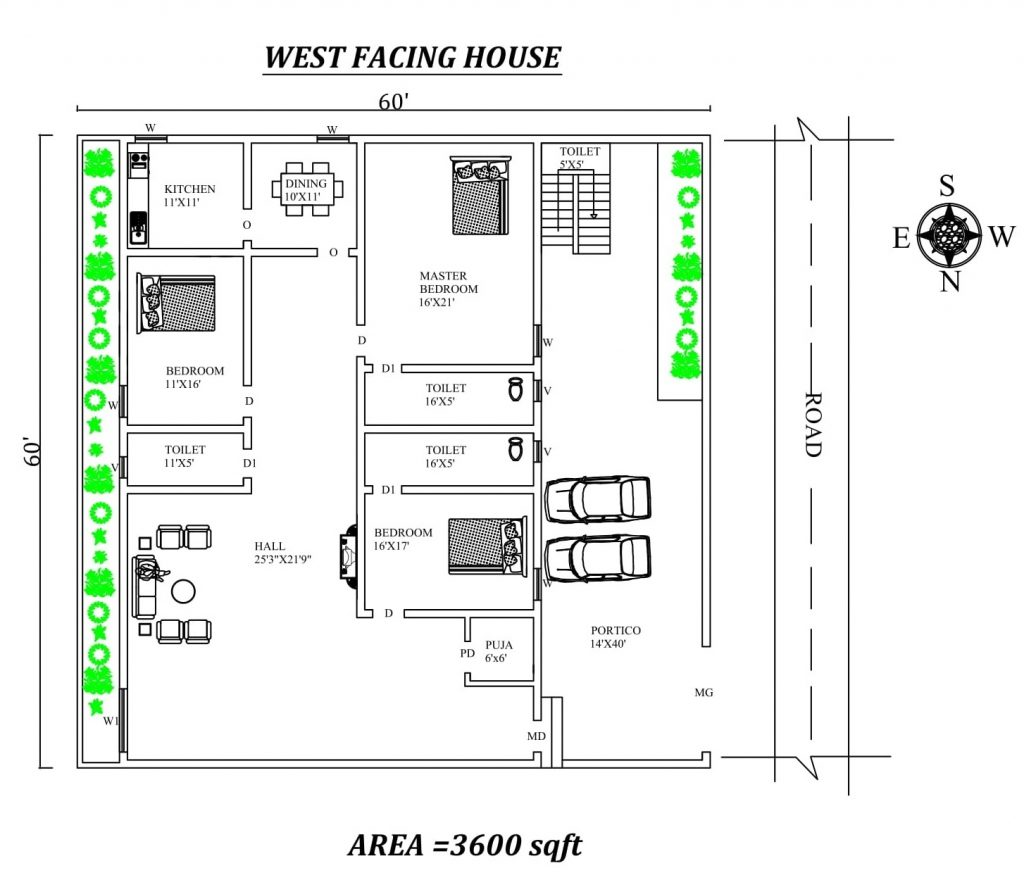 60'x60' Furnished 3BHK West Facing House Plan