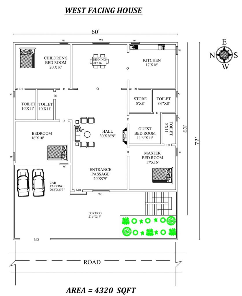 60' X 72' Spacious 3 BHK west-facing House Plan