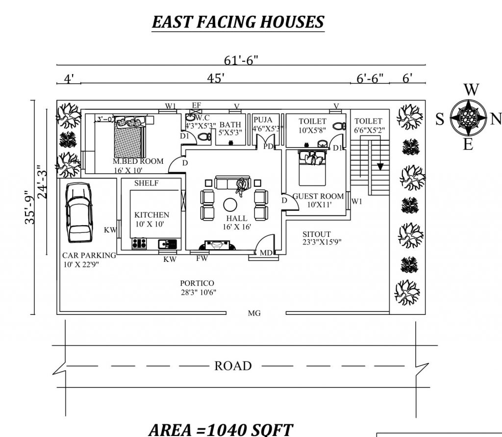 "61'6""X 35'9""' best 2bhk East facing House Plan"