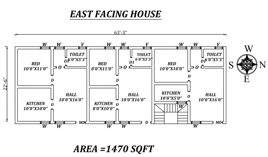 "63'3""X 22'6"" Single bhk East facing Apartment House Plan"