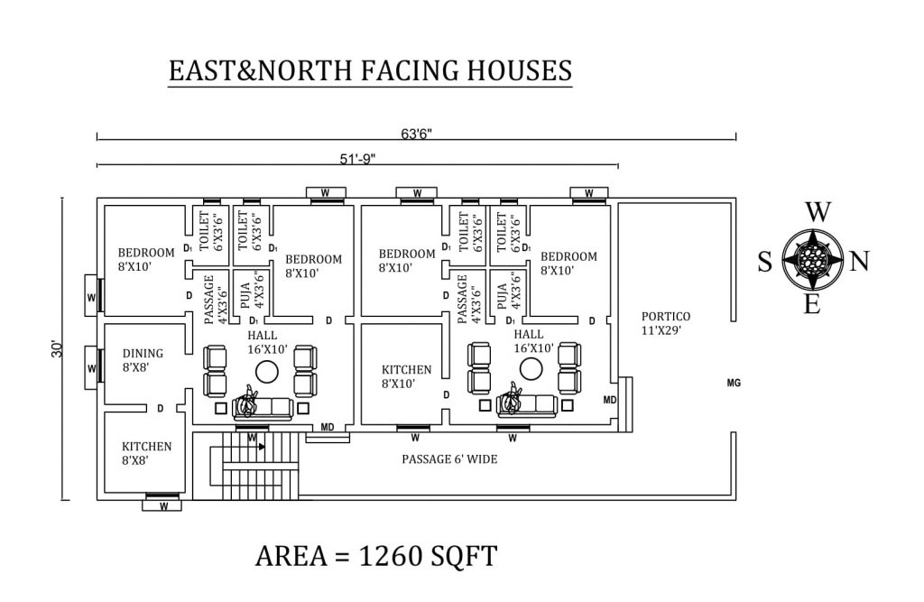 "63'6""x 30' Wonderful 2bhk East and North facing Dual House Plan"