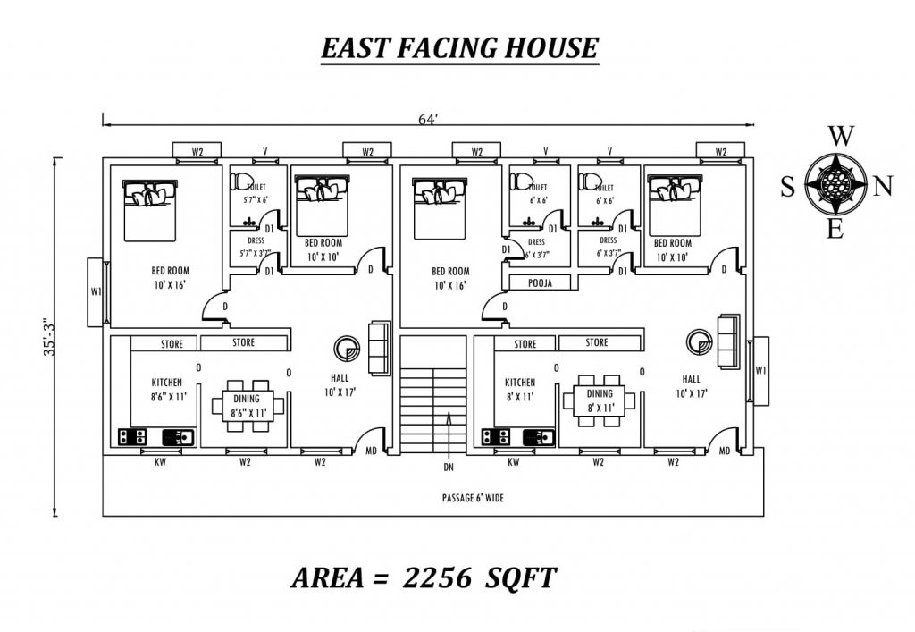64'x35' Wonderful Fully Furnished 2bhk East facing dual House Plan