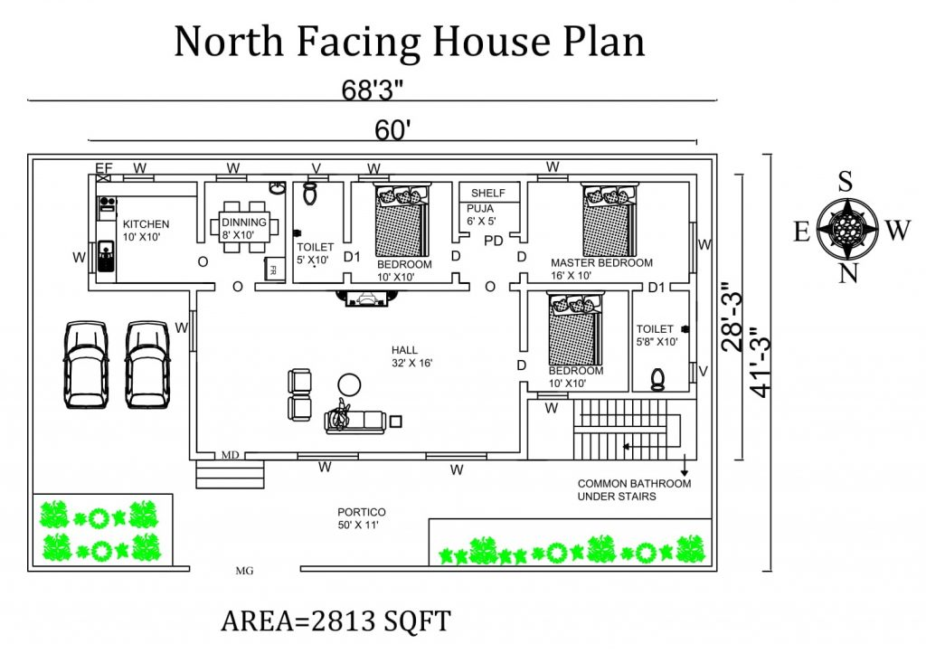 68'x41' 3BHK North Facing House Plan