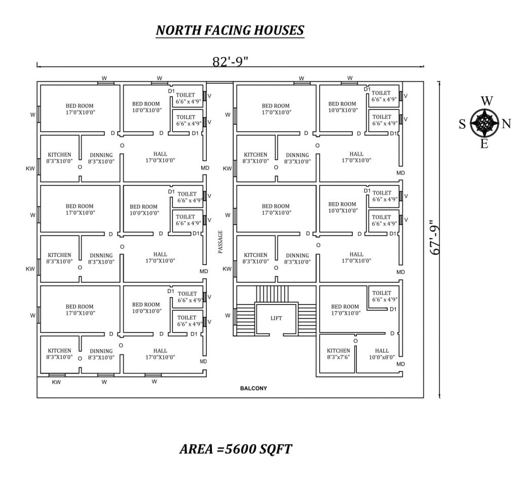 "82'9"" X67'9"" Amazing North facing 2bhk Apartment house plan"