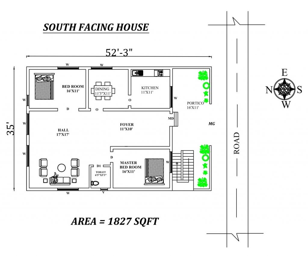 52'x35' south facing 2BHK house plan