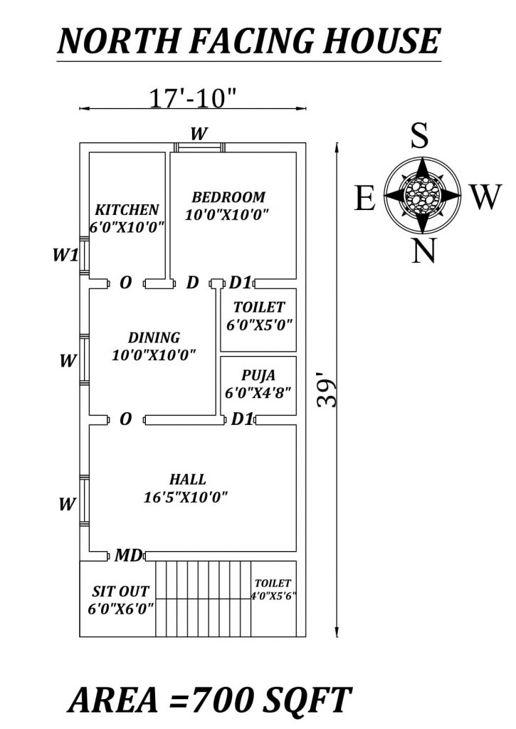 "17'10"" X 39' Single BHK North facing small House Plan"