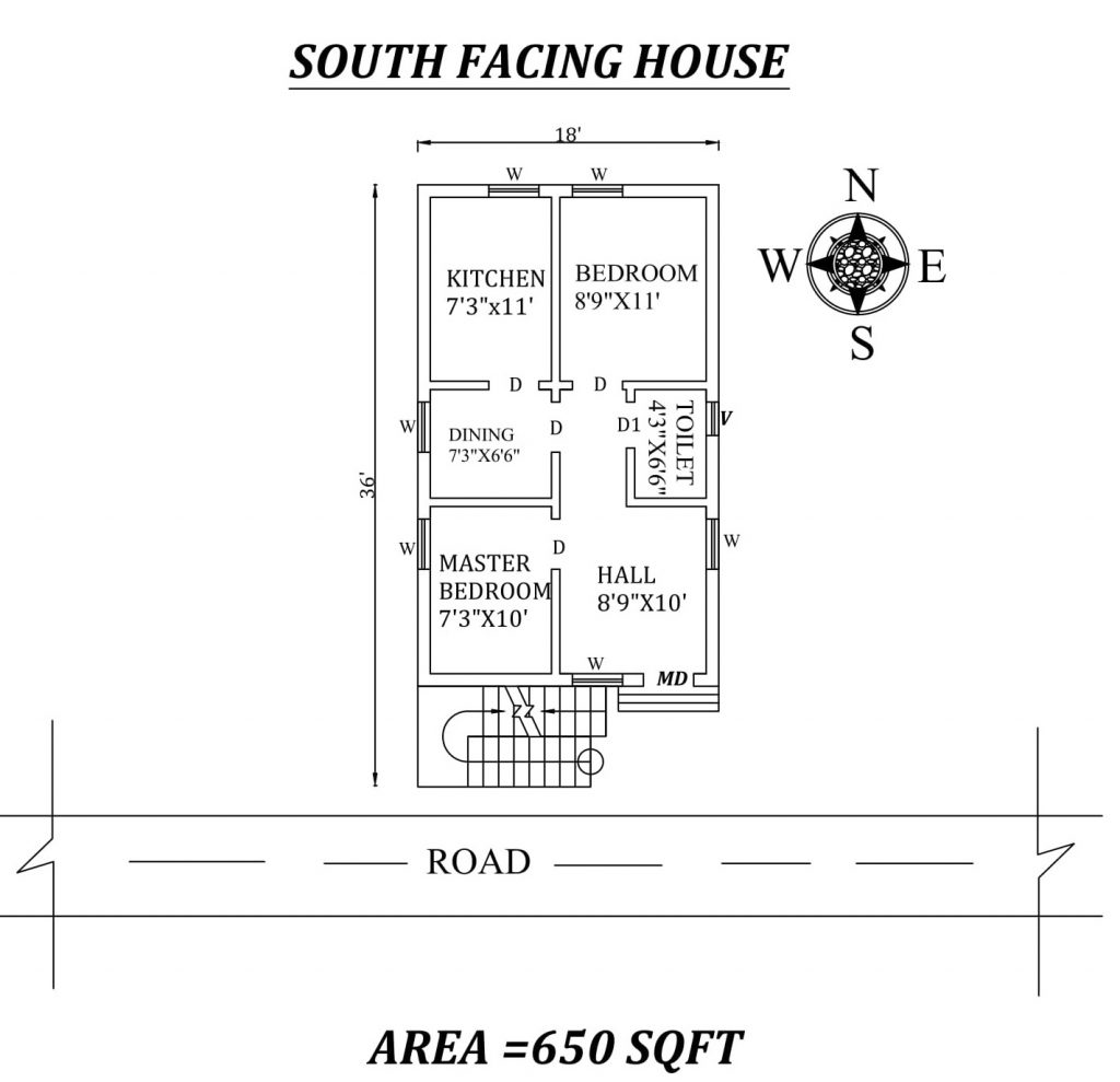 18'x36' 2bhk South facing House Plan