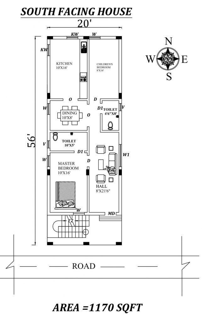 20'x56' 2bhk South facing First floor House Plan