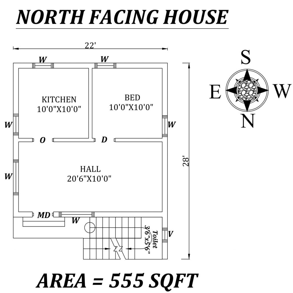 22'x28' Amazing single bhk north-facing House Plan