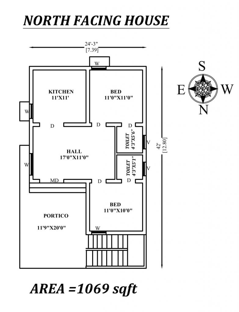 24'x42' Superb North facing 2bhk house plan
