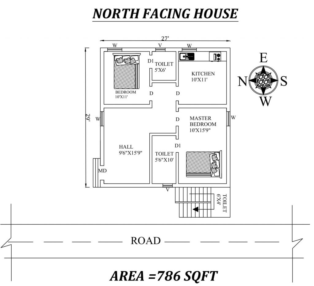 27'x29' Small budget 2BHK North Facing House plan