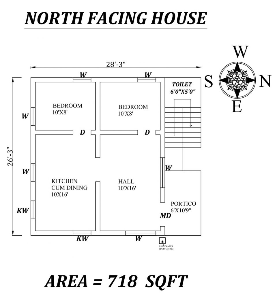 "28'3"" X26'3"" North Facing 2BHk House Plan"