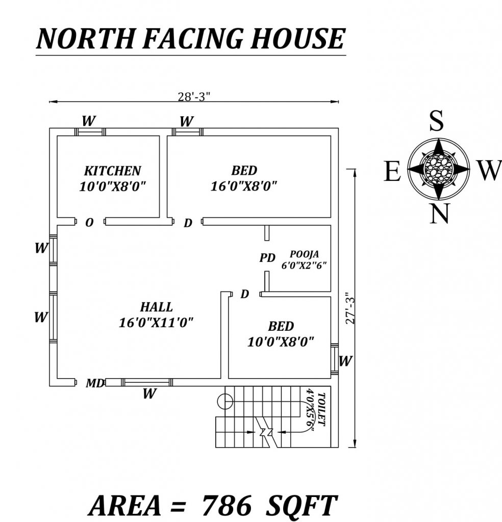 "28'3"" X 27'3"" 2 BHK North-facing House Plan"