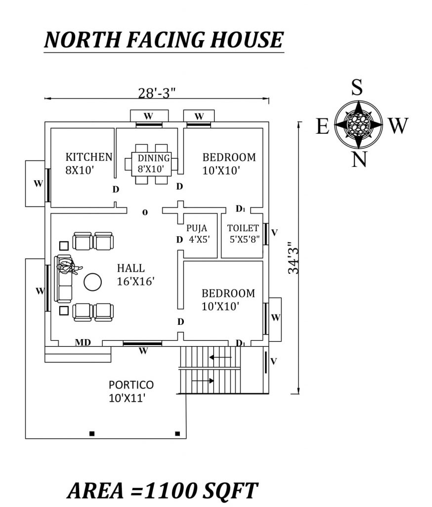 "28'3""x34'3"" superb North facing 2bhk house plan"