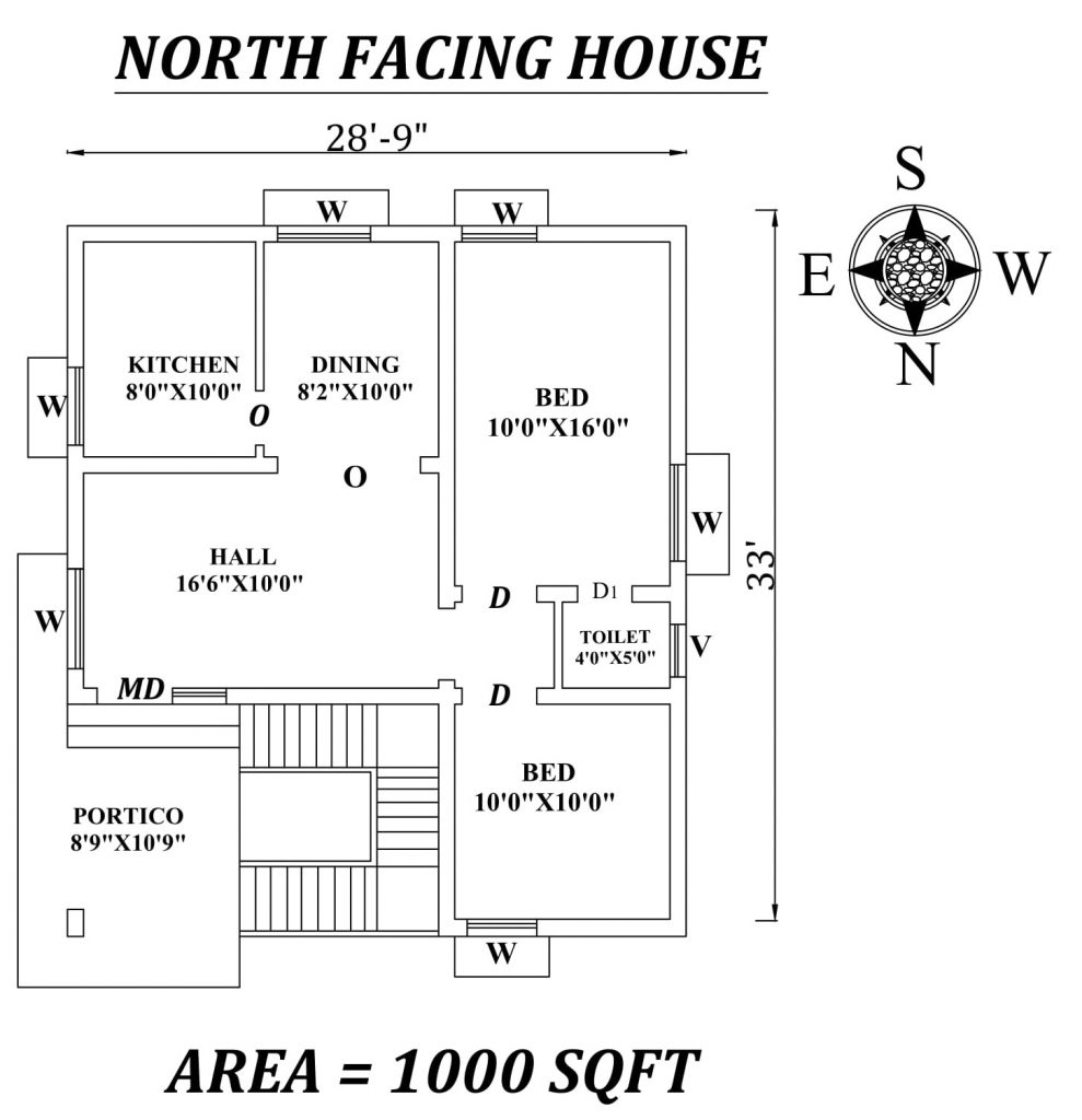"28'9""x33' Amazing North facing 2bhk house plan"