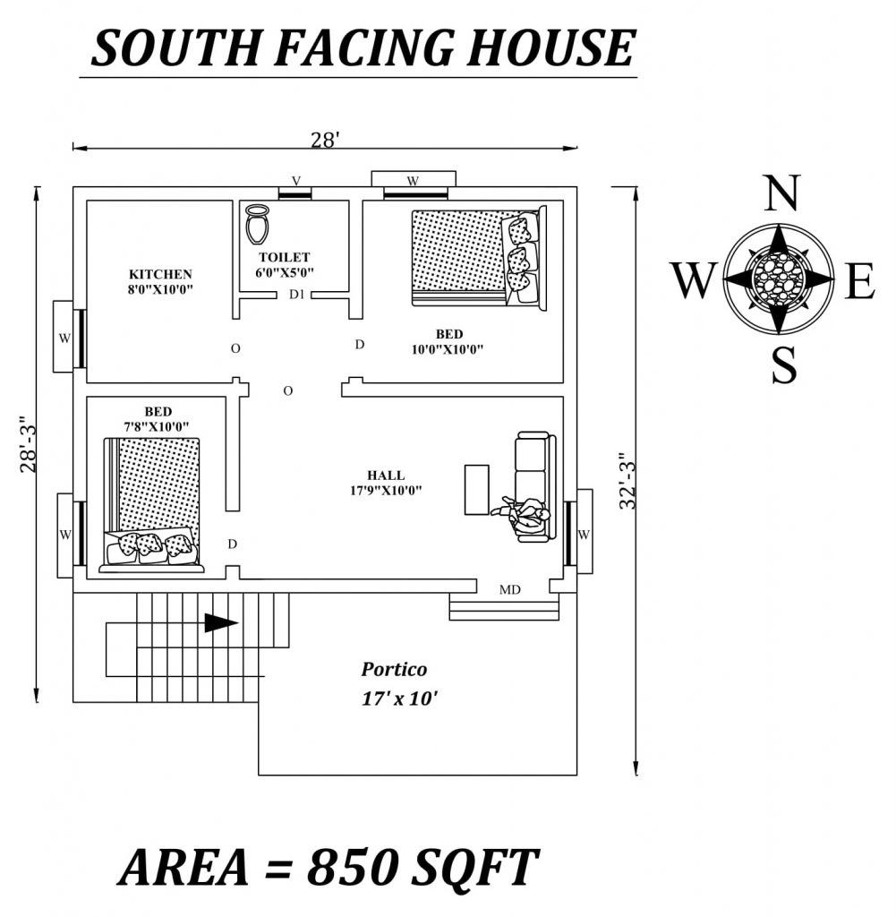 28'X28' 2bhk South facing House Plan