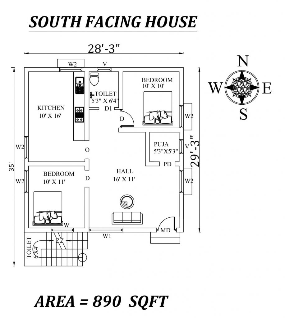 28'x35' 2bhk Awesome South facing House Plan