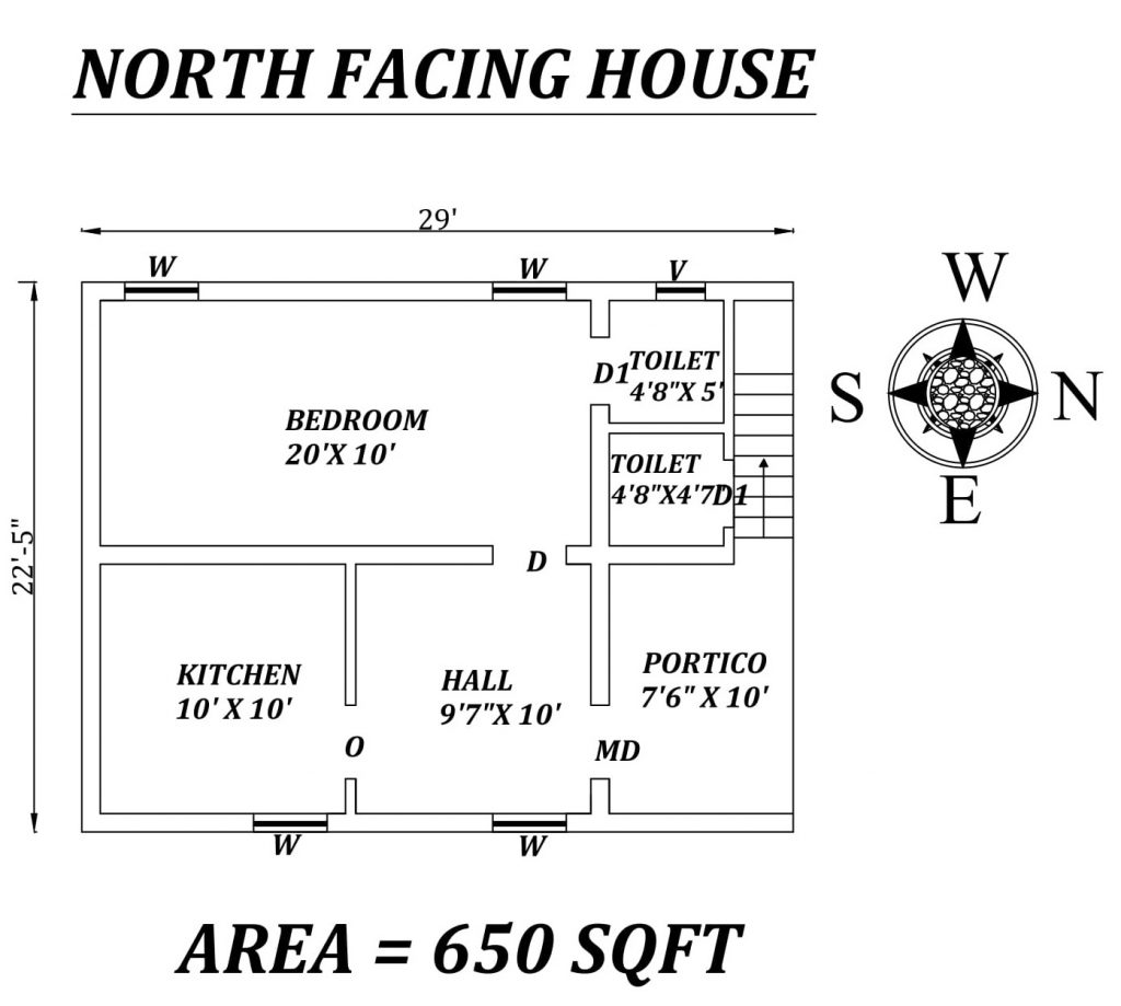 "29' X 22'5"" Single BHK North facing small House Plan"