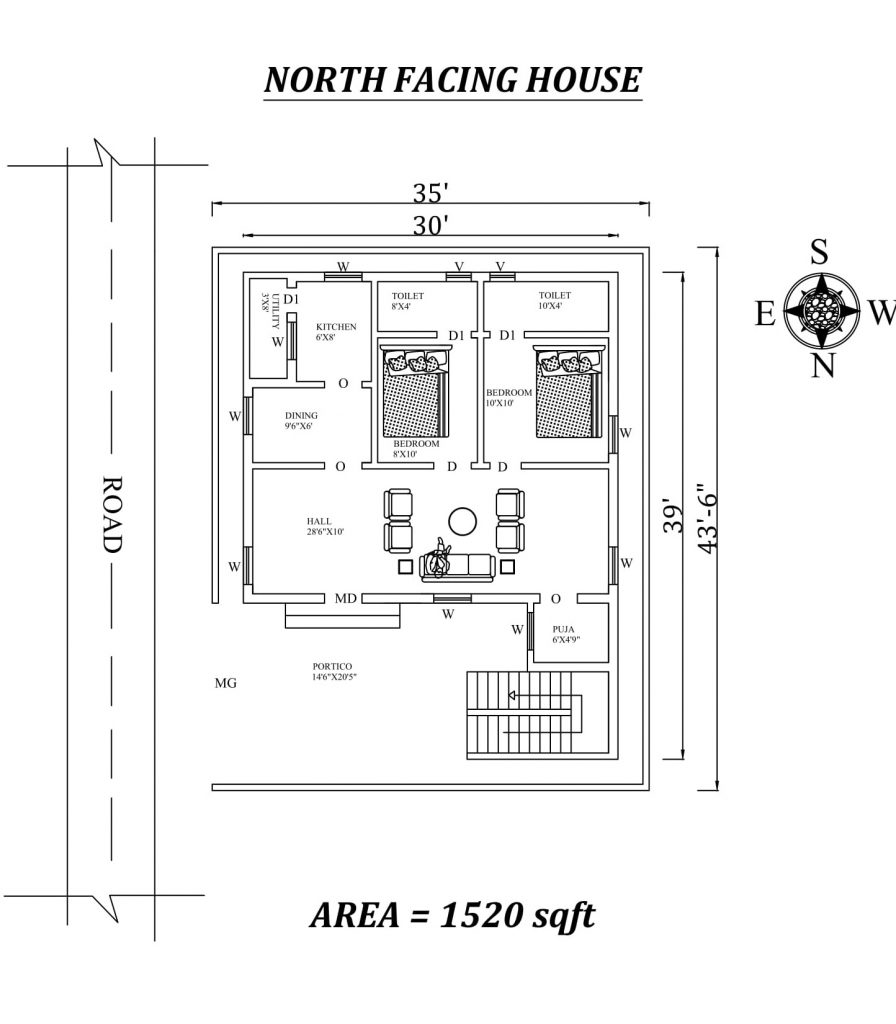 30'X39' Amazing North facing 2bhk house plan