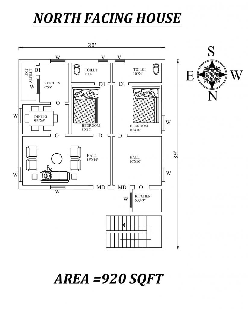 30' X 39' Single BHK Dual North facing House Plan