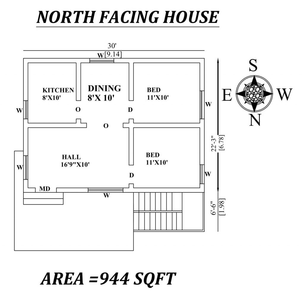 "30' X 28'9"" 2 BHK North-facing House Plan"