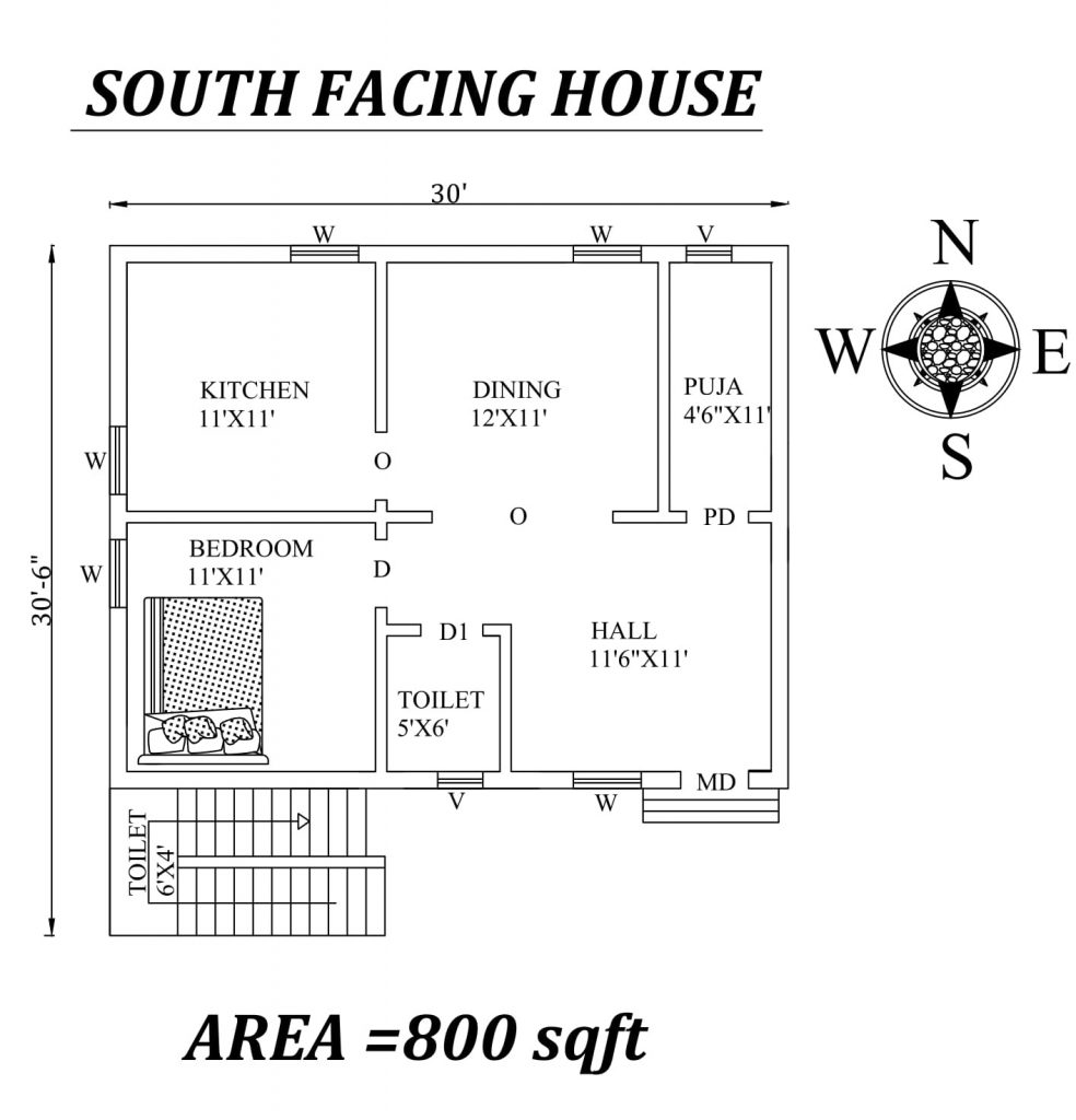 "30'x30'6"" Single bhk south-facing House Plan"
