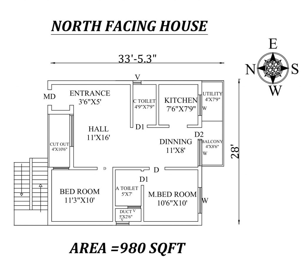 33'x28' Amazing North facing 2bhk house plan