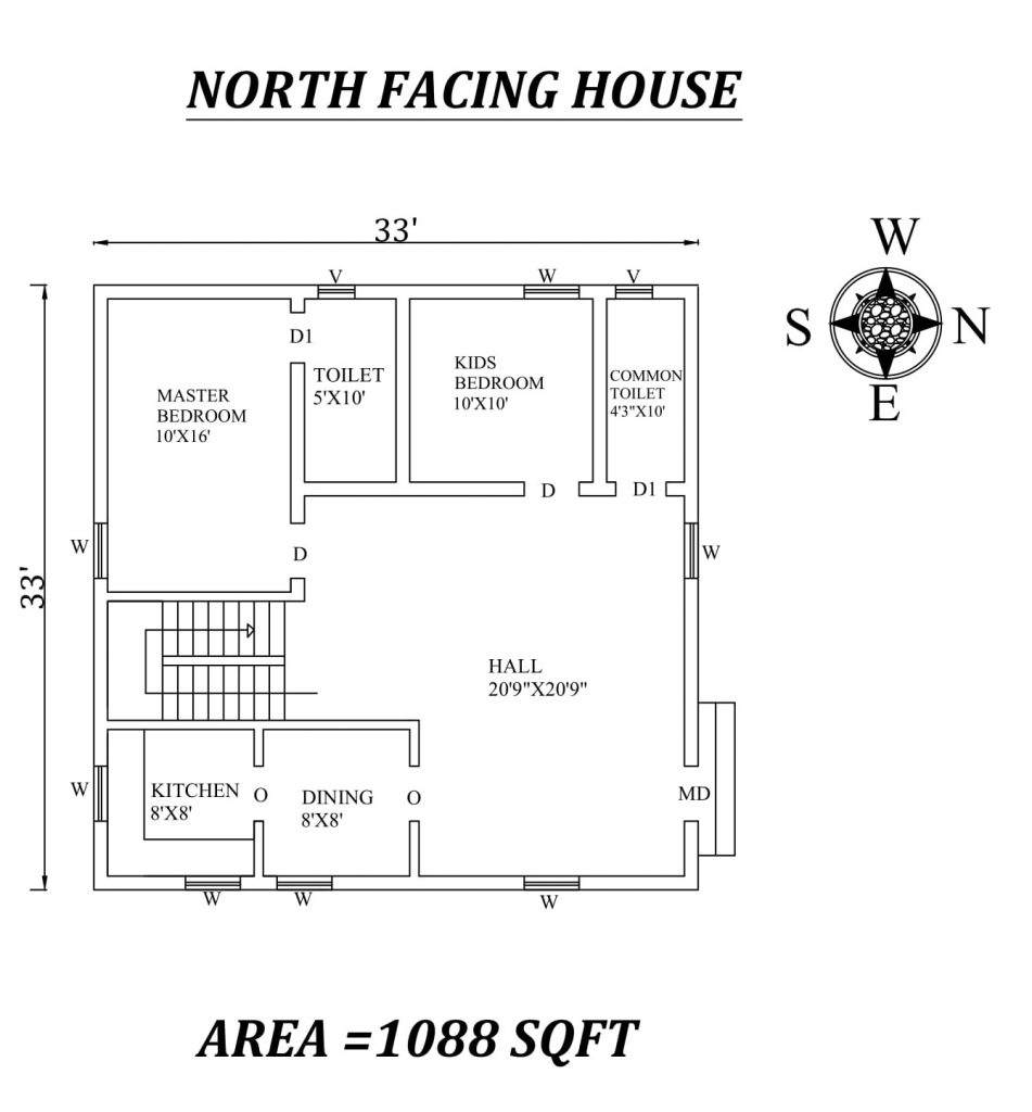 33'x33' Amazing North facing 2bhk house plan