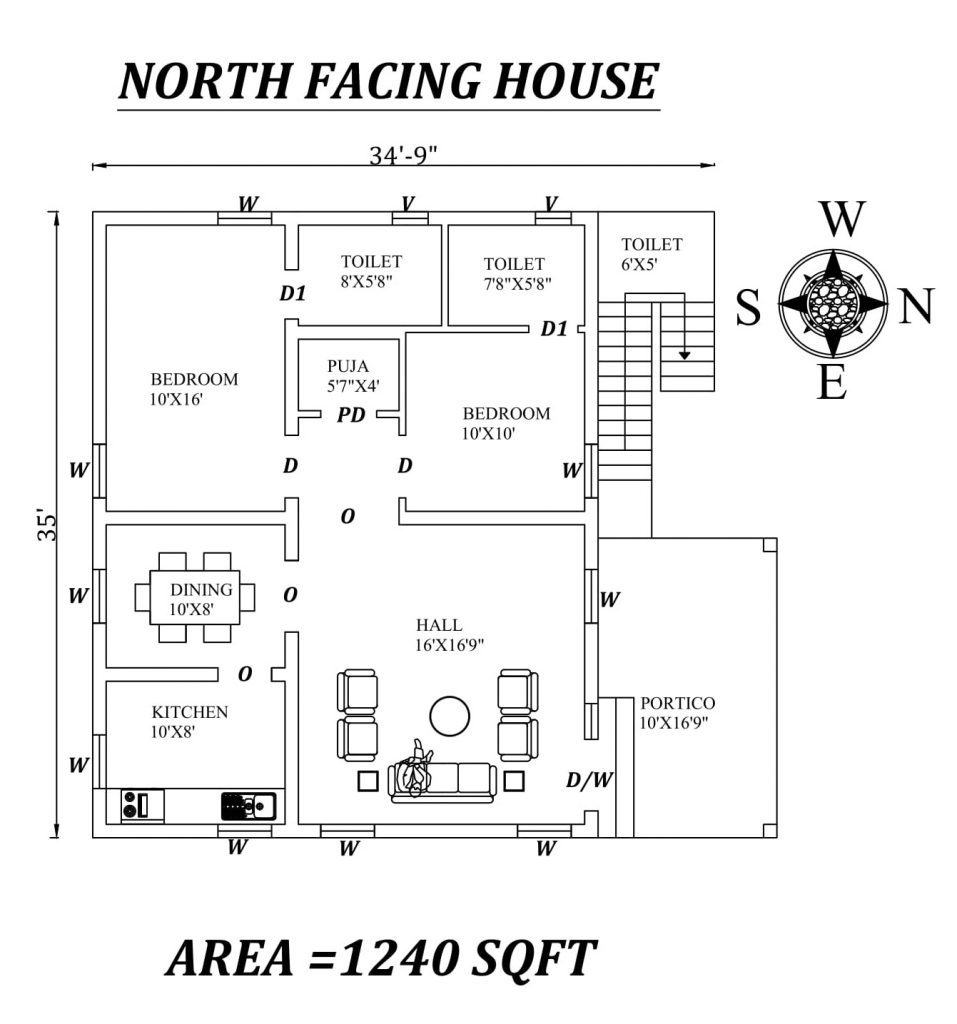 "34'9"" X 35' North facing 2bhk house plan"