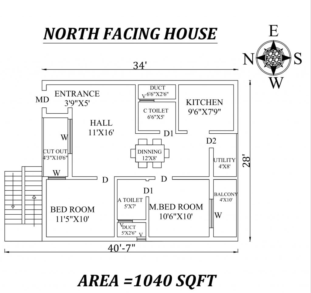 "34'x40'7"" Marvelous North facing 2bhk house plan"