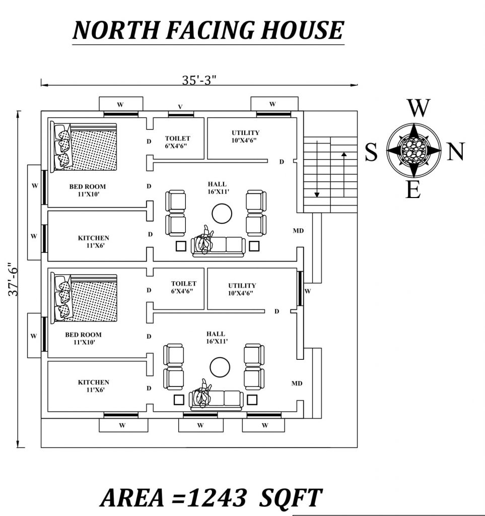 "35'3""x 37'6"" Single bhk North facing Dual House Plan"