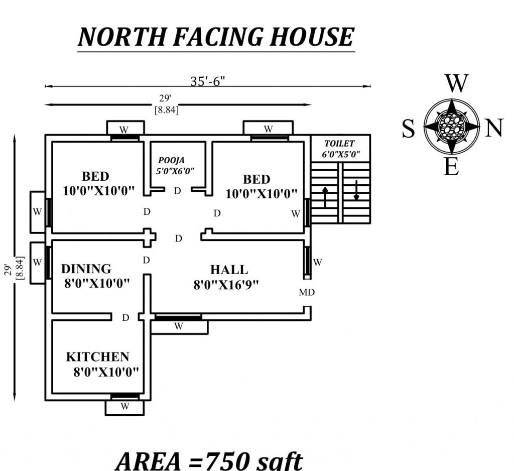 "35'6""X29' Perfect North facing 2bhk house plan"