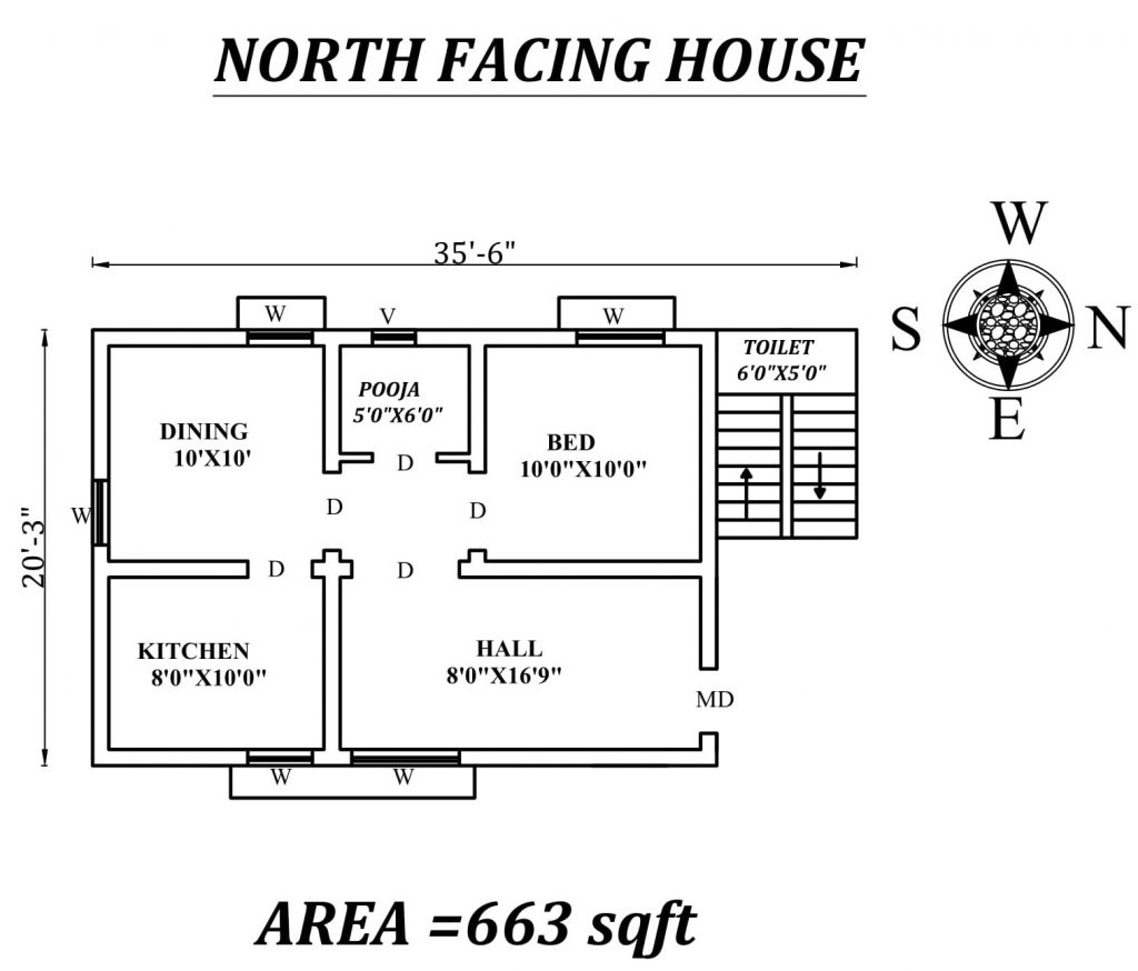 "35'6""x 20'3"" Single bhk North facing House Plan"