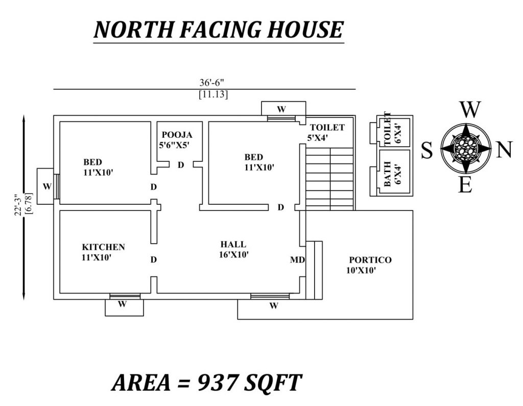 "36'6""x22'3"" Amazing North facing 2bhk house plan"