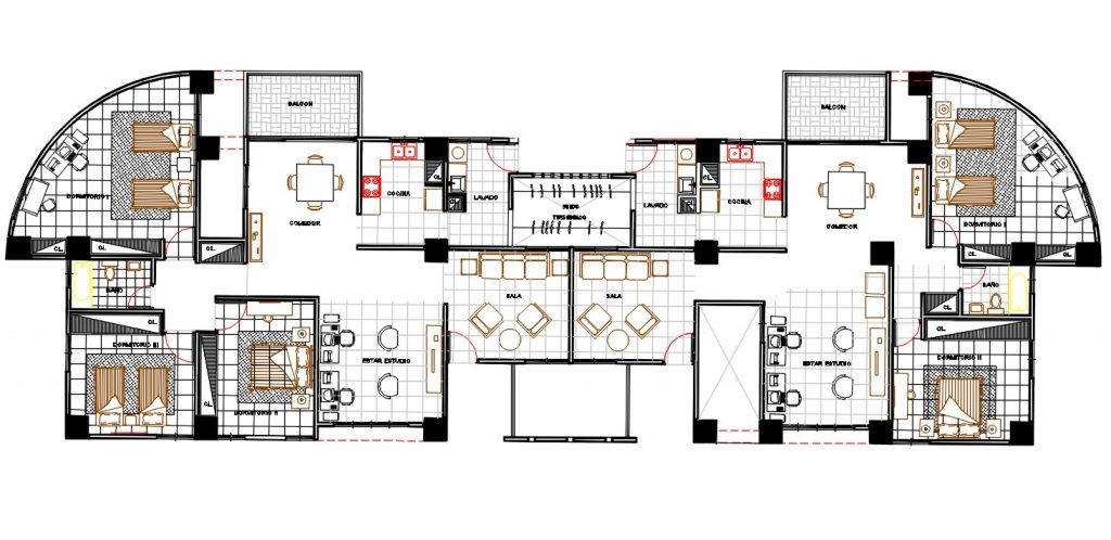 Amazing twin House Plan Drawing with furniture